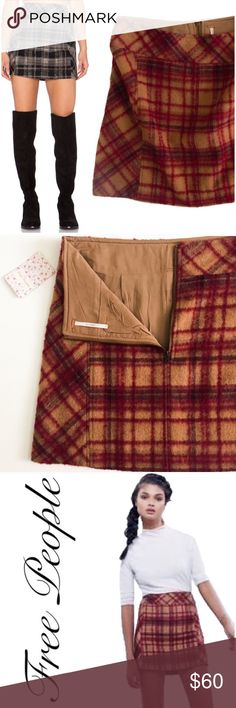 NWT Free People Mini Skirt New With Tags Free People Plaid Skirt Free People Skirts Mini