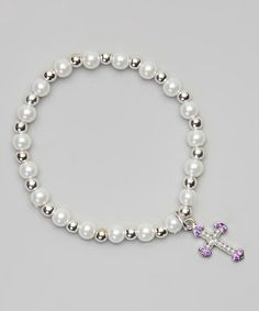 Loving this Purple & White Pearl Cross Charm Bracelet on #zulily! #zulilyfinds