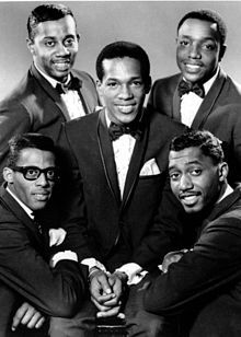 """The Temptations  The """"Classic 5"""" lineup of The Temptations: David Ruffin (bottom left), Melvin Franklin (top left), Paul Williams (top right), Otis Williams (bottom right), and Eddie Kendricks (center) c. 1965."""