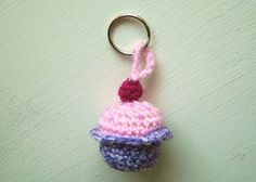 - The pattern uses UK terminology. The pattern uses double knit yarn to crochet the cupcake and a hook. The pattern us. Crochet Round, Double Crochet, Single Crochet, Slip Stitch Crochet, Knit Crochet, Crochet Keychain, Crochet Earrings, Crochet Supplies, Magic Ring