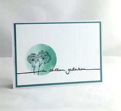 """blog.karten-kunst.de - Schlichte Trauerkarte. Karten-Kunst Schriftzug """"In stillem Gedenken"""", cArt-Us Mini-Stempel – Feldblume,"""