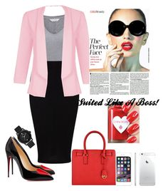 """Suited Like A Boss!"" by vernesta ❤ liked on Polyvore featuring Miss Selfridge, Quiz, Christian Louboutin and GUESS"