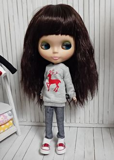 blythe clothesTop tshirt reindeer gray dc091 by dollcat on Etsy