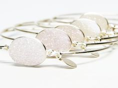 Snow White Opal druzy.  Perfect for bridesmaids gifts.  www.etsy.com/shop/stiacouture