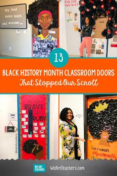 "13 Black History Month Classroom Doors That Stopped Our Scroll. We love these inspiring and powerful Black History Month classroom doors. They're a great way to ""open the door"" to conversation and learning. History Jokes, History Teachers, History Bulletin Boards, History Classroom Decorations, Afro, Black History Month Activities, Nasa History, Black History Facts, History Projects"