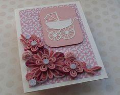 Baby Carriage Girl Card, new baby girl card,new baby congrats, welcome baby girl, Handmade Baby Card, Baby Invitation, Handmade Baby