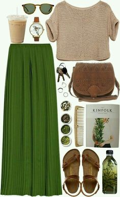 Tan knitted crop, green pleated maxi, brown Birks.