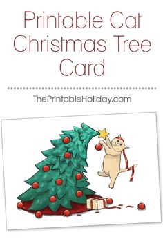 """Any cat owner knows that during the Christmas season, your Christmas decorations run the risk of being """"rearranged"""" by your furry friends. This card features a mischievous kitten un-decorating a tree and causing some Christmas chaos! Customize the message and print this template to send a laugh to all the cat lovers you know! 
