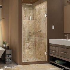 "DreamLine SHDR-243407210 Unidoor Plus 72"" High x 34-1/2"" Wide Hinged Frameless S"