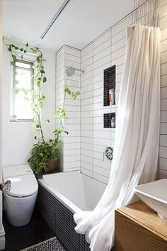 we could do this type of ceiling mounted shower curtain track in the guest bathroom - much more minimal than a standard curtain rod. again, love the accent tile in the niches.