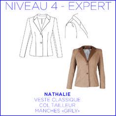 Patron - veste nathalie girly, veste classique, manches…