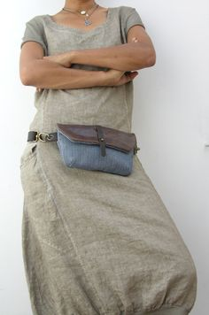 Hip Bag - Fanny Pack - Leather and Canvas - Traveler Bag - Utility Hip Belt - Hip Pouch by ruthkraus. Explore more products on http://ruthkraus.etsy.com