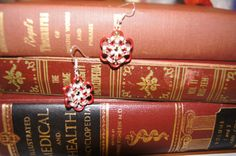 Red flower chainmaille earrings on etsy