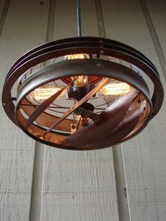 Industrial Pendant Light Upcycled Vintage Industrial Fan