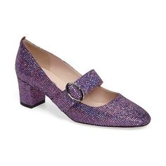 Women's Sjp By Sarah Jessica Parker 'Tartt' Embellished Mary Jane Pump (385 CHF) ❤ liked on Polyvore featuring shoes, pumps, lavender, block heel shoes, formal shoes, mary-jane shoes, lavender pumps and sjp shoes