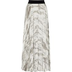 ENZA COSTA Pleated satin skirt ($99) ❤ liked on Polyvore featuring skirts, grey, pull on skirt, long grey maxi skirt, enza costa skirt, long gray maxi skirt and gray skirt