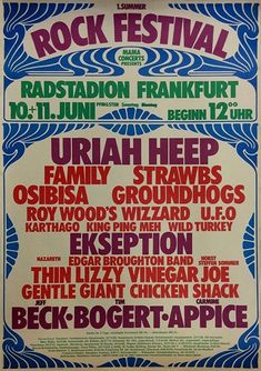 Rock N Roll Music, Rock And Roll, Roy Wood, Hippie Posters, Tour Posters, Band Posters, Vintage Concert Posters, Rock Festivals, Rock Concert