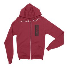 Atonement: forgiven & redeemed. Red christian hoodie.