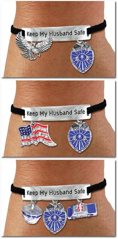Keep My Police Officer Husband Safe - Suede & Silver w Flag Charms - Flag and Emblem