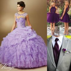 Love purple? Choose these colors for your dama, chambelan and yourself!   Quinceanera Ideas   Download the FREE quince app  