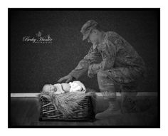 Dad in Afghanistan when son was born!  Wow, photographer surprised family with this photo representing his presence of spirit! Beautiful.  Thank you ALL military service-men & women for your personal sacrifice and God Bless you and your families! You are valued & appreciated.