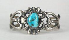 Native American Navajo sandcast Sterling Silver Morenci turquoise bracelet