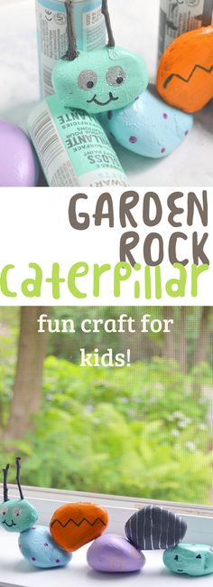A fun craft for kids to personalize their gardens using painted rocks, twigs, and outdoor glue to make this fun garden rock caterpillar!