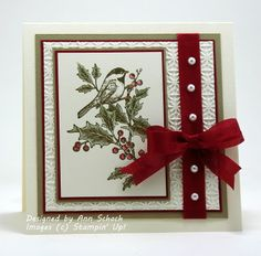 Ann's quick Christmas card - Love the pearls on the ribbon!