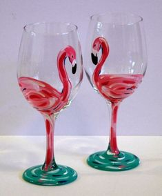 Flamingo Wine Glasses on Storenvy