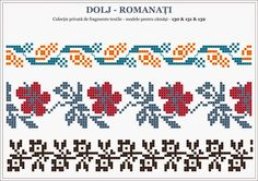 traditional Romanian blouse from MOLDOVA, Bacau county Loom Beading, Beading Patterns, Embroidery Patterns, Cross Stitch Borders, Cross Stitch Patterns, Knitting Charts, Stitch Design, Knitting Needles, Pixel Art