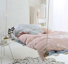 Margot Quilt Cover Set has gorgeous white polka dot design printed on a dreamy peach cotton and linen fabric and features a sweet, floral reverse. Kids Bedroom, Bedroom Decor, Kids Rooms, Bedroom Curtains, Bedroom Ideas, Master Bedroom, Beige Bed Linen, Single Quilt, Bed Linen Design