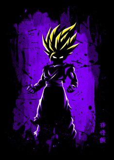 Displate Poster Maximum fury ssj2 #saiyan #anime #manga #super #power #dragon #japan #level #battle #warrior #kame #ball