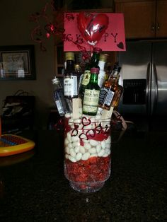 Man bouquet for Valentine's. Liquor and candy bouquet!