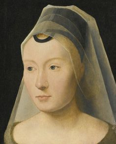 Second half of the century portrait of a young woman, attributed to MEMLINC Hans: Flemish school (Seligenstadt, active by 1465 - 1494 Bruges) - …sold for USD Euro). Moda Medieval, Medieval Hats, Medieval Life, Medieval Costume, Medieval Clothing, Renaissance Kunst, Renaissance Portraits, 15th Century Clothing, Hans Memling