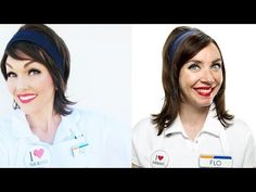 Get The Halloween Makeup Hairstyle Look, Photos, Video Tutorials: Flo, The Progressive Insurance Girl: Red Lips, Cat-Eye, Big Dark Wig | BeautyStat.com