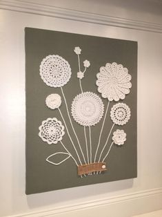 doilies crafts wall art ~ doilies crafts - doilies crafts for kids - doilies crafts repurposed - doilies crafts diy - doilies crafts vintage - doilies crafts wall art - doilies crafts for kids valentines day - doilies crafts shabby chic Doilies Crafts, Crochet Doilies, Crochet Flowers, Fabric Crafts, Paper Doily Crafts, Crochet Wall Art, Crochet Wall Hangings, Craft Projects, Sewing Projects
