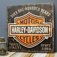 Harley-Davidson Personalized Wood Sign with 3-D Metal Headlights ...
