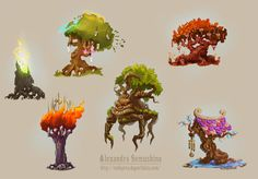 Amazing trees by Alexandra Semushina  From left to right: Reborn Tree, Spellcraft Tree, Chocolate Sweet Tree, Tree of War, Walking Tree, Eastern Wind Tree