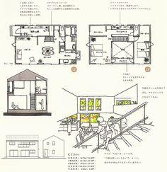 間取り Floor Plan Sketch, Outdoor Theater, Environmental Design, Japan, House Layouts, House Plans, Presentation, Floor Plans, House Design