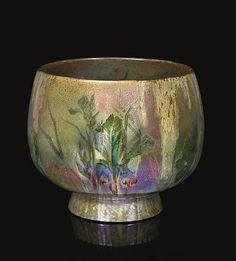 CLEMENT MASSIER & LUCIEN LÉVY-DHURMER IRIS MONUMENTAL JARDINIÈRE, CIRCA 1890 earthenware, iridescent glaze
