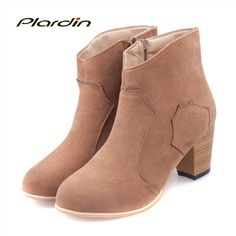 plardin Women Winter Ankle Martin Boots Keep Warm Bota Feminina Women's Boots Snow Med Heel Women Shoes Woman Botas Mujer