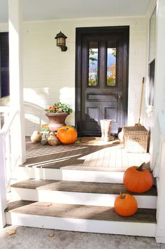 Front step option if the budget can't handle stone:  deck boards on treads, and siding or trim on risers.