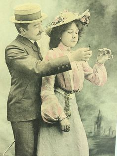 The last petal * Romantic French couple photograph * Antique postcard unused * 1900s fashion clothes by ExcusemyFrenchShop on Etsy