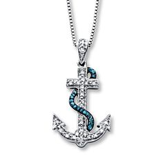 Anchor Necklace 1/10 ct tw Diamonds Sterling Silver at Kay Jewelry!