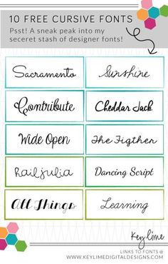 Free Cursive Fonts from my secret design stash! :)