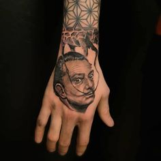 dali black and grey portrait tattoo on hand by ricardo van 't Hof Dali, Hand Tattoos, Black And Grey, Portrait, Headshot Photography, Portrait Paintings, Drawings, Portraits