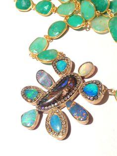 Multi Opal and Chrysoprase Gold vermeil by YaronaJewelryDesign, $1059.00