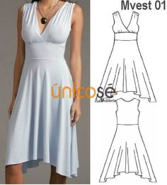 VESTIDO RECOGIDO EVASÉ MUJER, CORTE BAJO EL BUSTO. Wedding Dress Necklines, Necklines For Dresses, Sewing Clothes, Diy Clothes, Clothes For Women, Clothing Patterns, Dress Patterns, Fashion Wear, Fashion Outfits