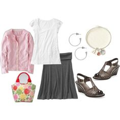 casual feminine summer.  click photo for 10 more mix and match outfits.