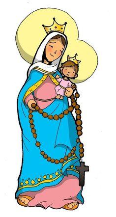 Praying The Rosary Catholic, Catholic Saints, Blessed Mother Mary, Blessed Virgin Mary, Religious Education, Religious Art, Jesus E Maria, Catholic Crafts, Mama Mary